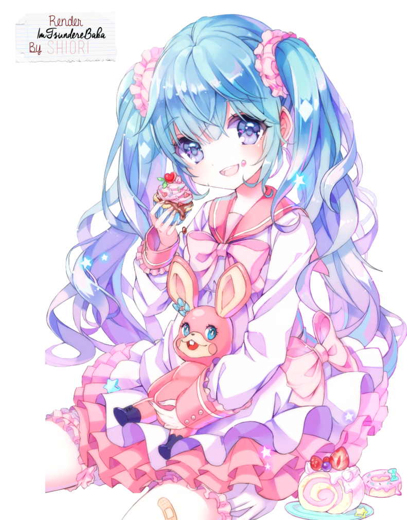 png freeuse library Hatsune miku render by. Anime clipart vocaloid.