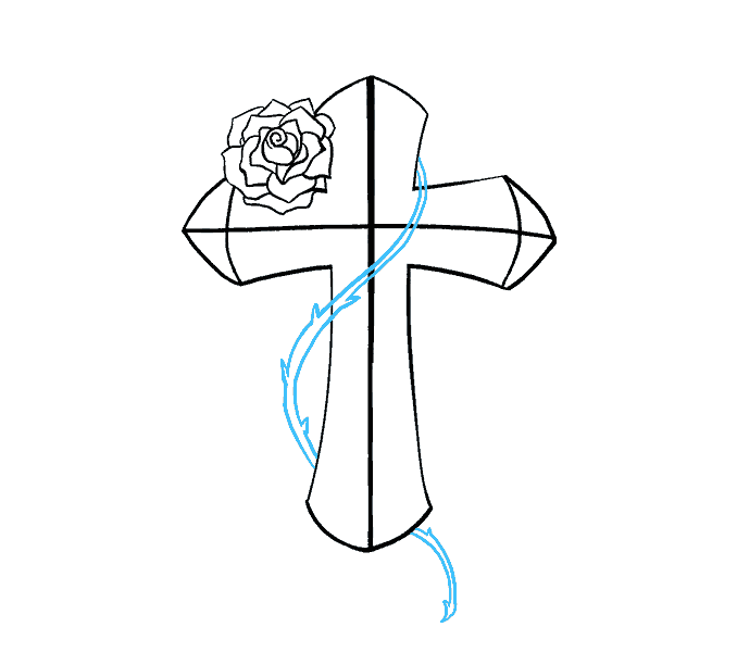 jpg royalty free download How to Draw a Cross with a Rose in a Few Easy Steps
