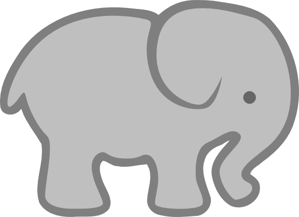 vector royalty free library Baby elephant clipart outline. Gray clip art at