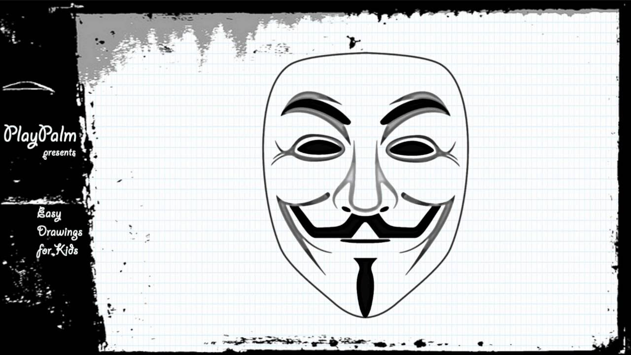 clip art black and white Draw the guy fawkes. Anonymous drawing.