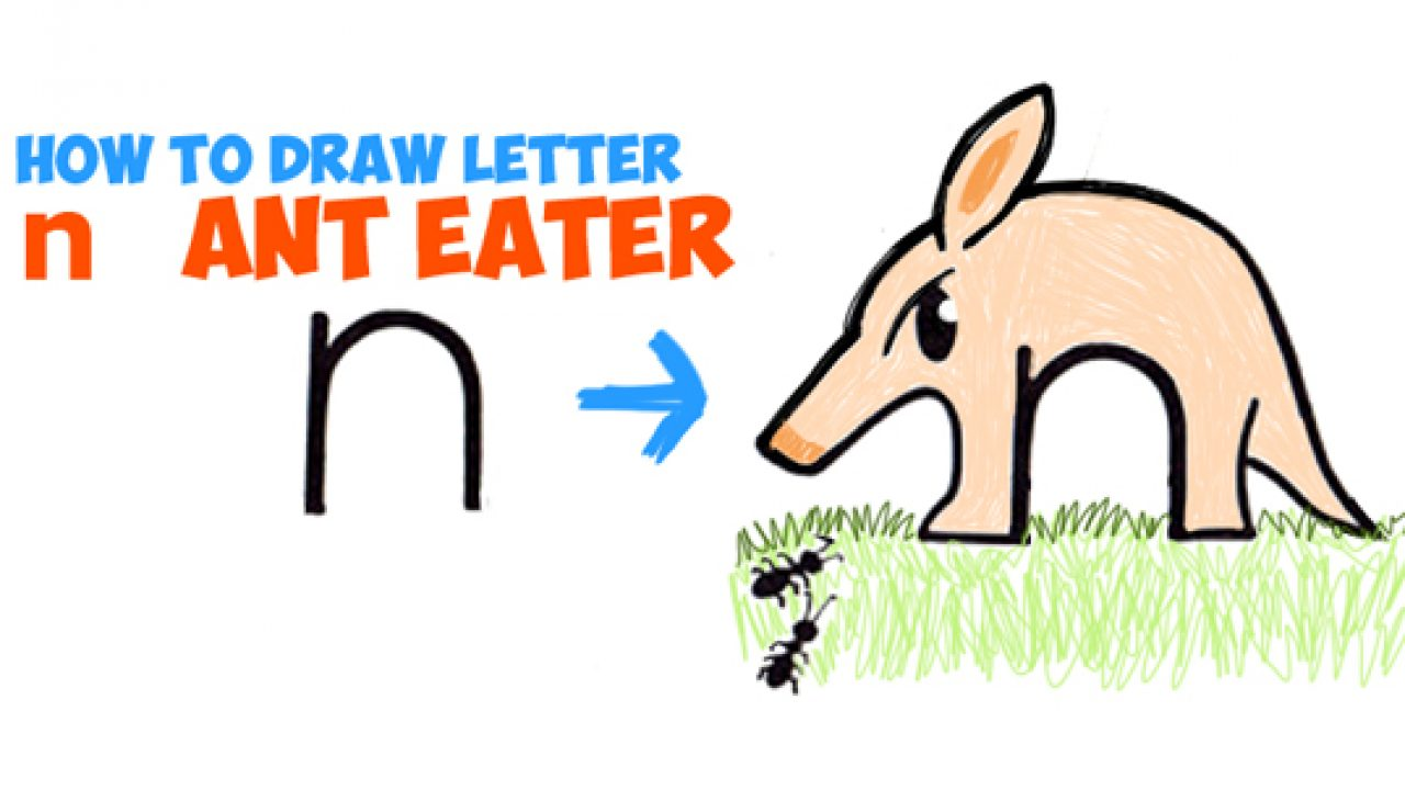 clip art stock How to Draw Cartoon Ant Eater from Lowercase Letter n