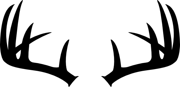 jpg library library Black silhouette of deer. Antlers clipart arrow