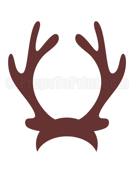 jpg black and white download Ear transparent reindeer. Printable antlers photo booth