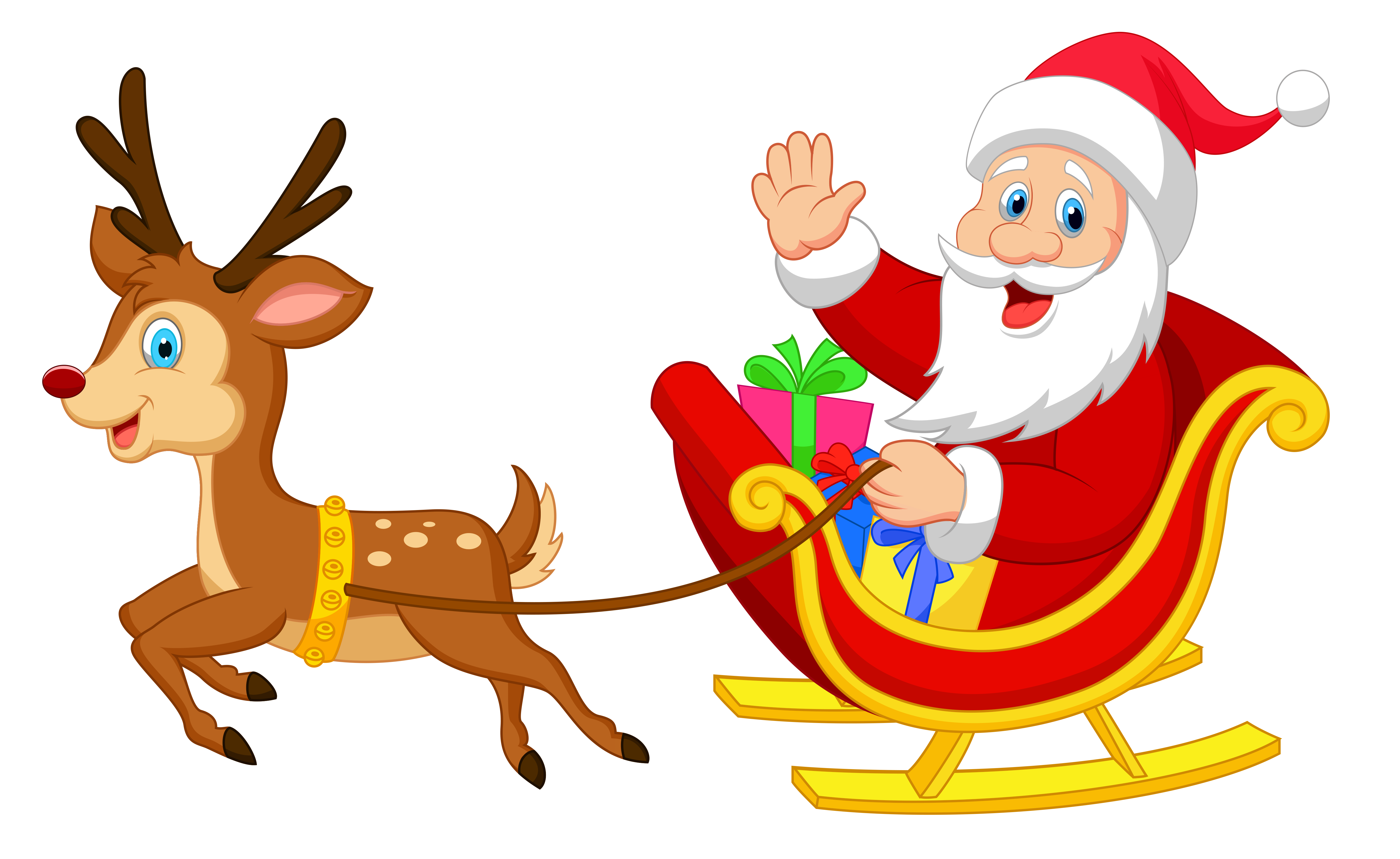 svg free library Transparent Santa with Rudolph PNG Clipart