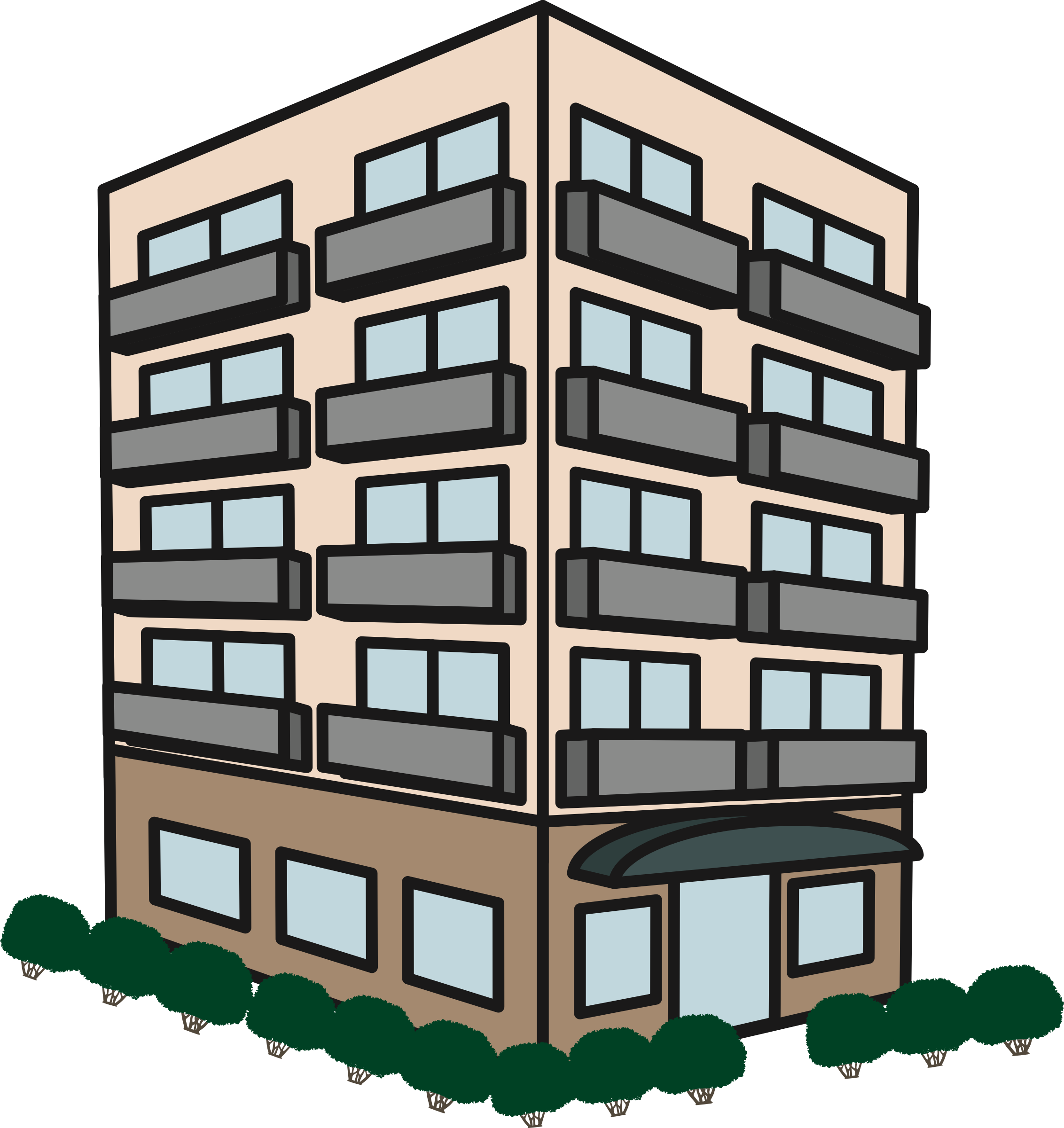 banner Building big image png. Apartment clipart.