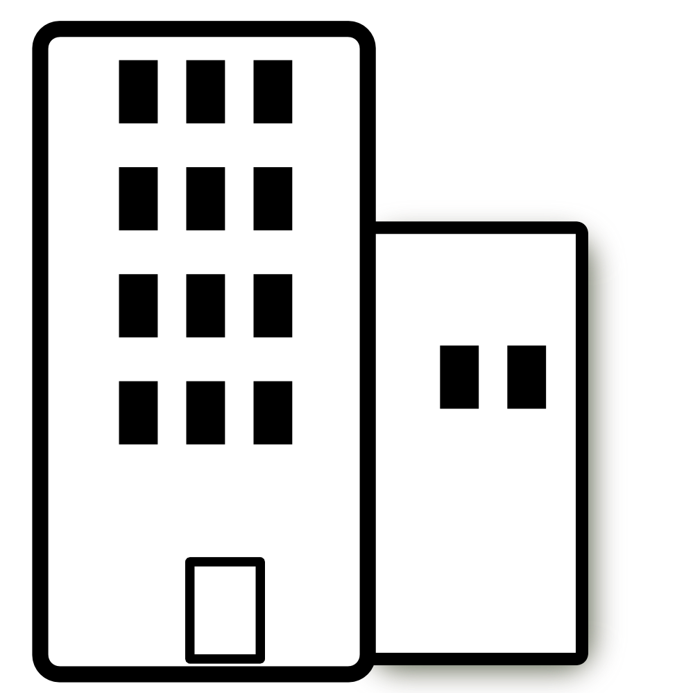 banner stock Office building clipart black and white. Apartment
