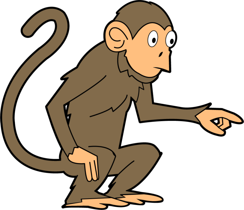 jpg freeuse Clipart monkey black and white. Ape transparent background free