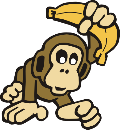 svg stock Do monkeys or chimps. Ape clipart banana