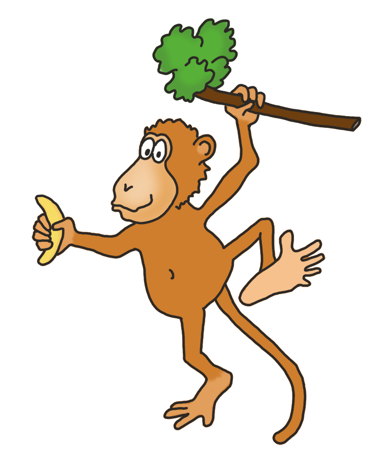 banner royalty free download Ape clipart banana. Funny monkey drawings clip