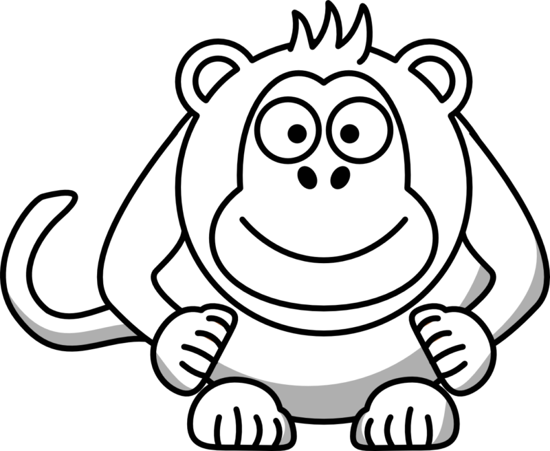 jpg free stock Ape clipart black and white.  free monkey images