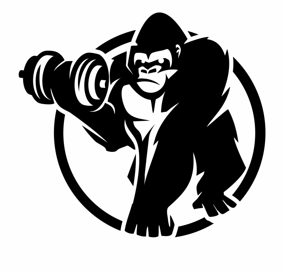 clip art black and white Royalty free gorilla sport. Ape clipart bodybuilding