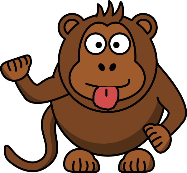 library Monkey cartoon free clip. Ape clipart brown