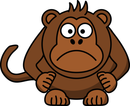 picture black and white Ape clipart dead monkey. Chimpanzee primate cartoon free