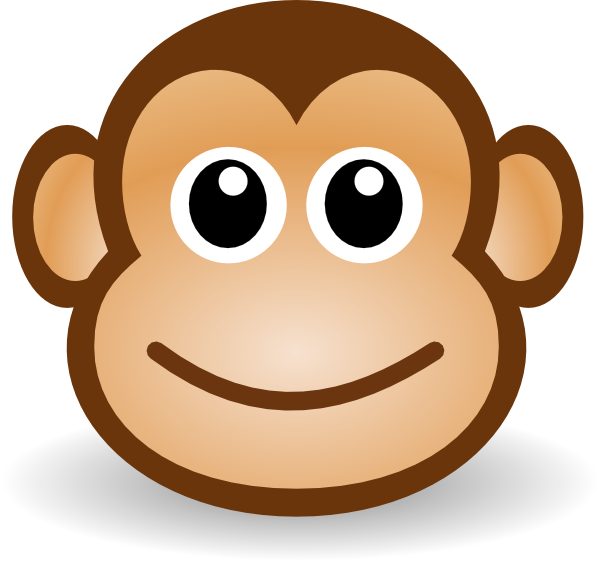 vector freeuse stock Simple monkey face drawing. Ape clipart easy.