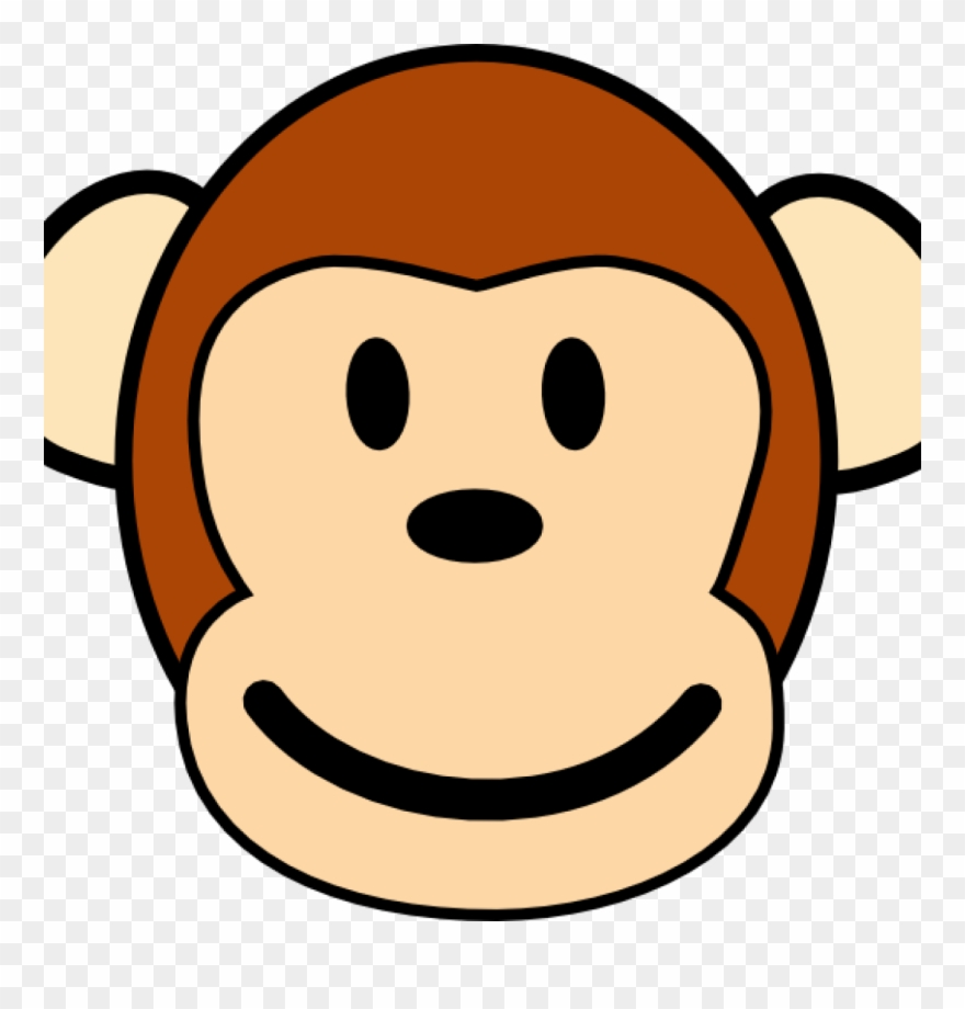 graphic Monkey face drawing cute. Ape clipart easy