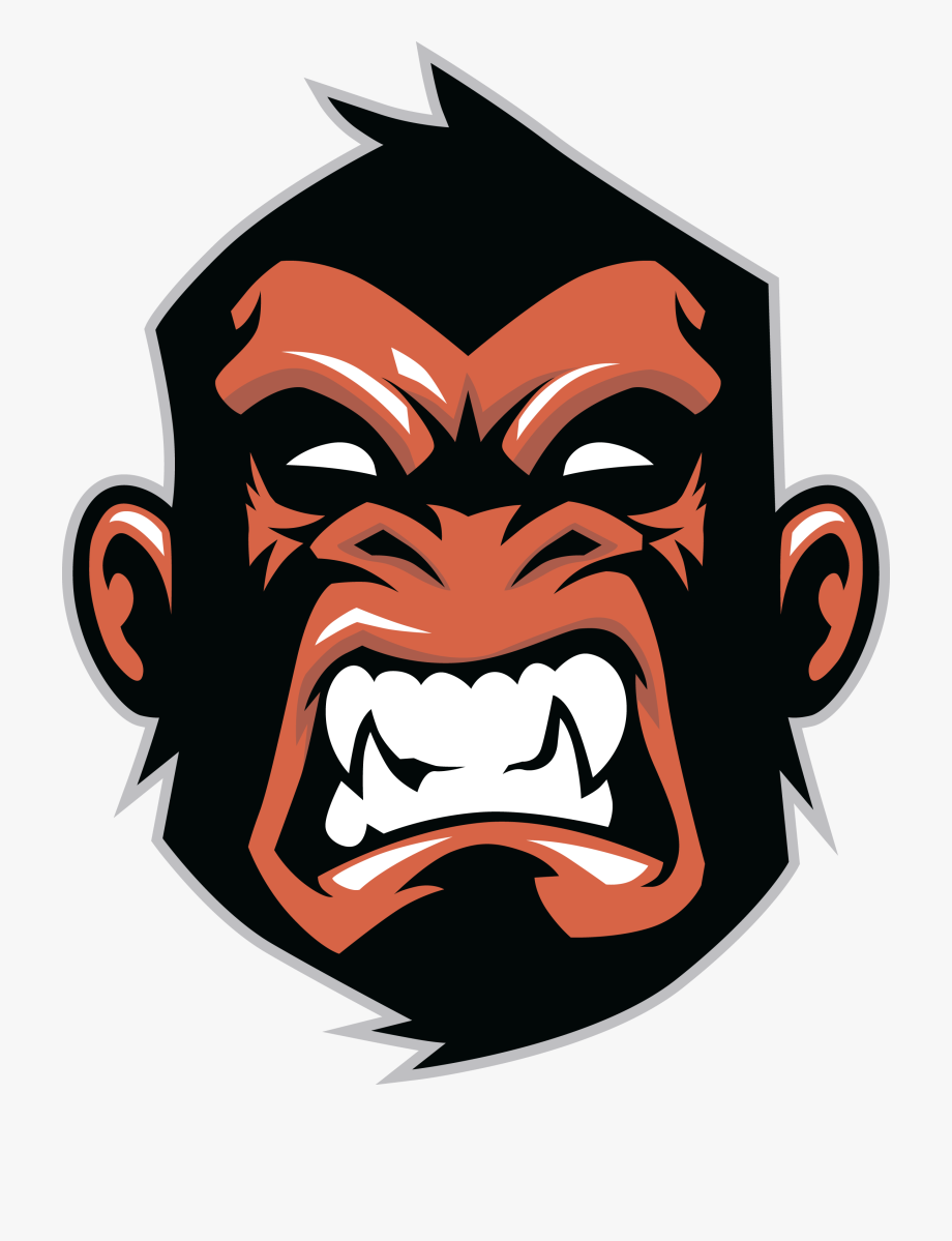 banner library Ape clipart gorilla head. Printed vinyl orange stickers