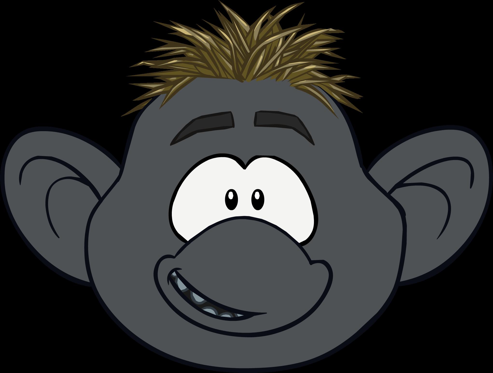 banner black and white library Troll club penguin wiki. Ape clipart gorilla mask