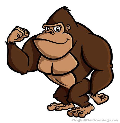 clip art download Ape clipart jungle gorilla. Cartoon character illustration of