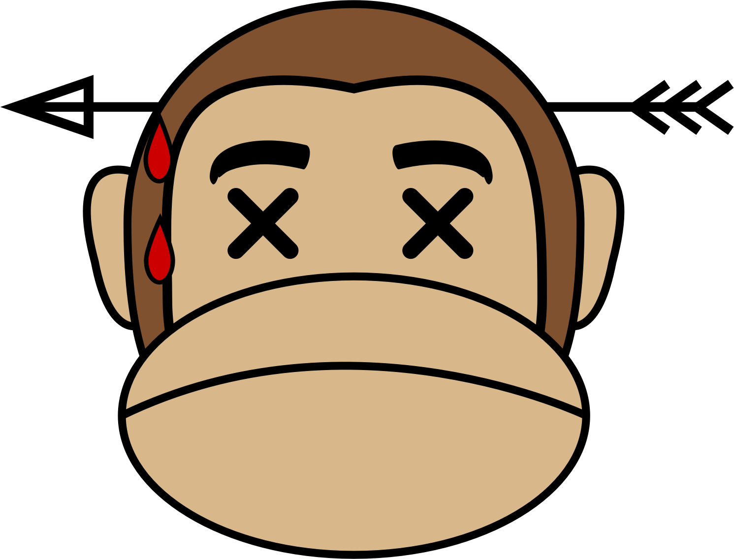 clip black and white Monkey emoji dead big. Ape clipart monket