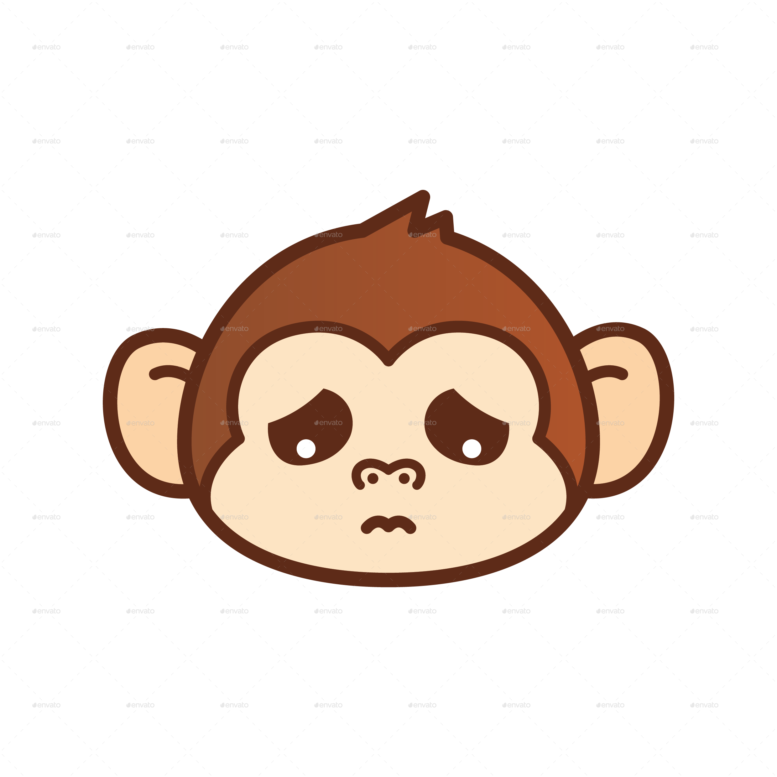 svg black and white download Ape clipart monky. Cute monkey emoticon by