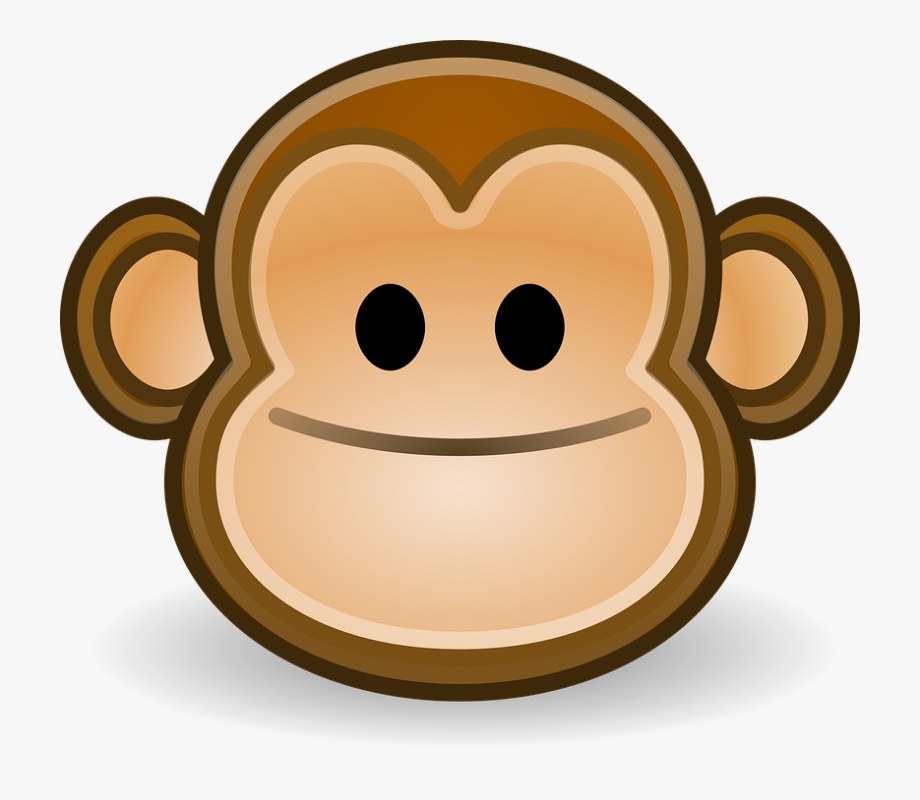 clip art black and white Monkey smile happy face. Ape clipart monley