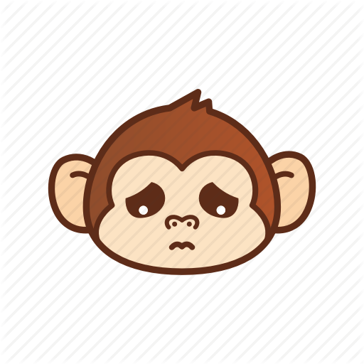picture transparent library Ape clipart sad. Cute monkey emoticon by.