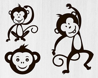 vector royalty free library Ape clipart svg. Monkey etsy