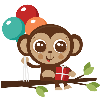 clipart royalty free stock Birthday monkey cut file. Ape clipart svg