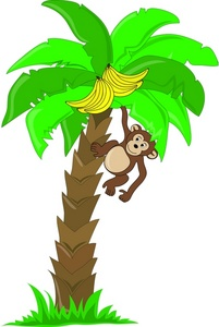 banner black and white library Ape clipart tree. Monkey in a free.