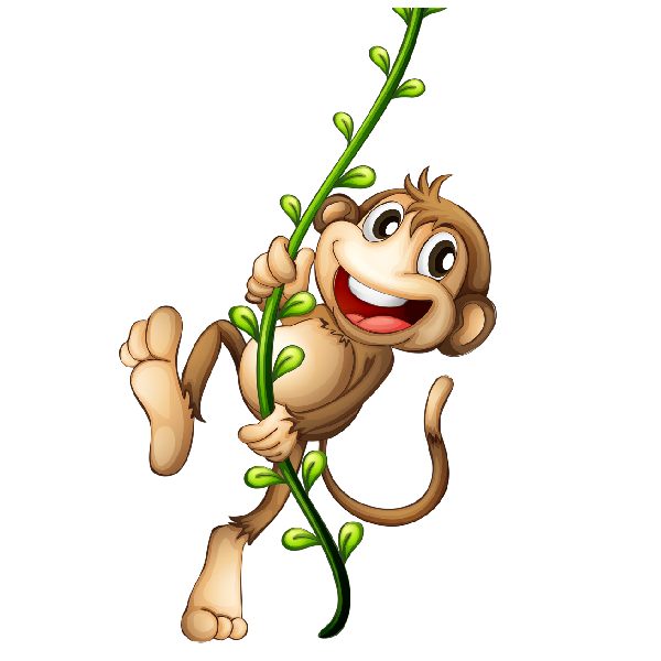 banner black and white library Cartoon monkey image png. Ape clipart tree.
