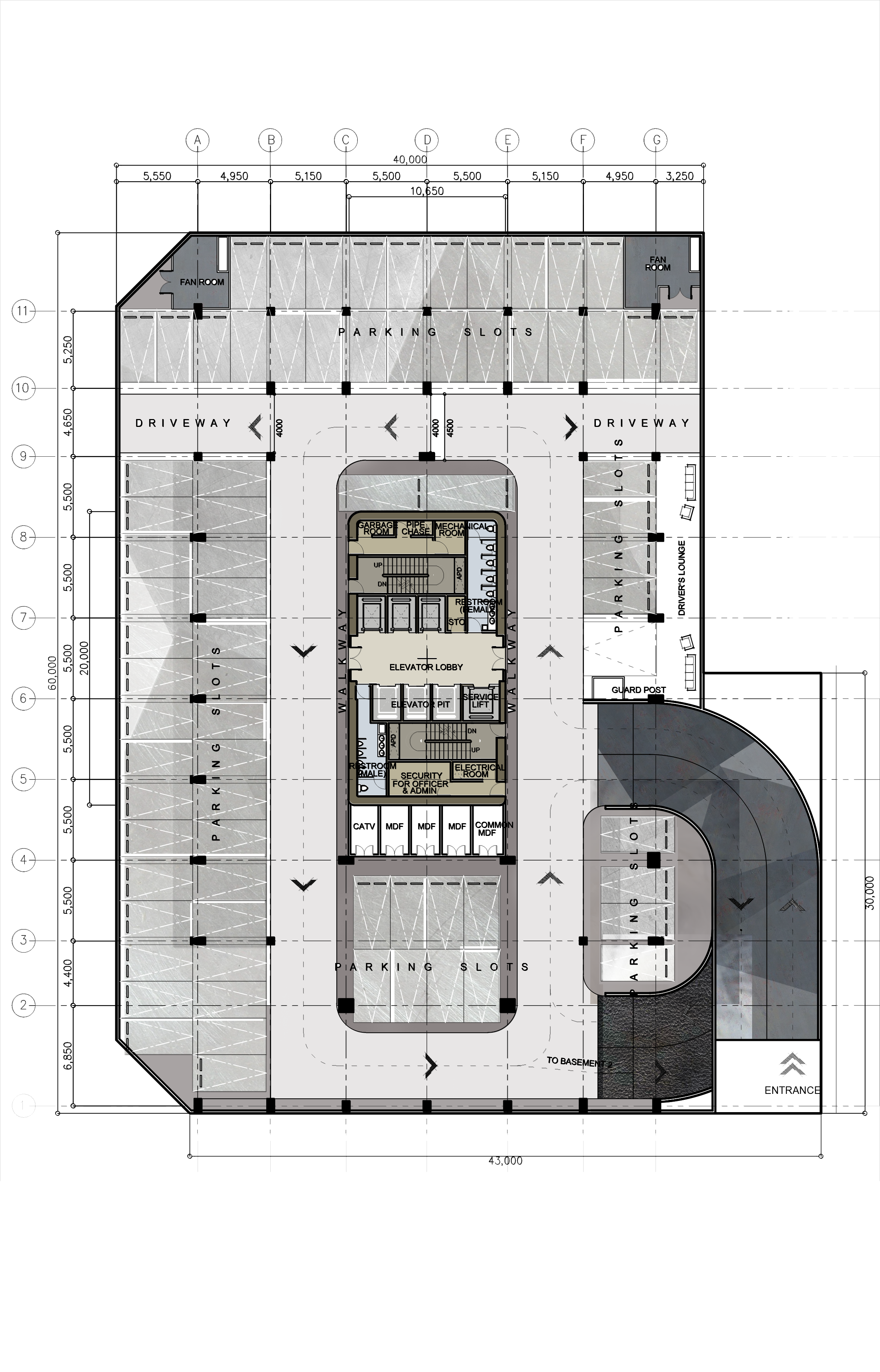 jpg library Sectional drawing theatre. Basement plan design proposed.