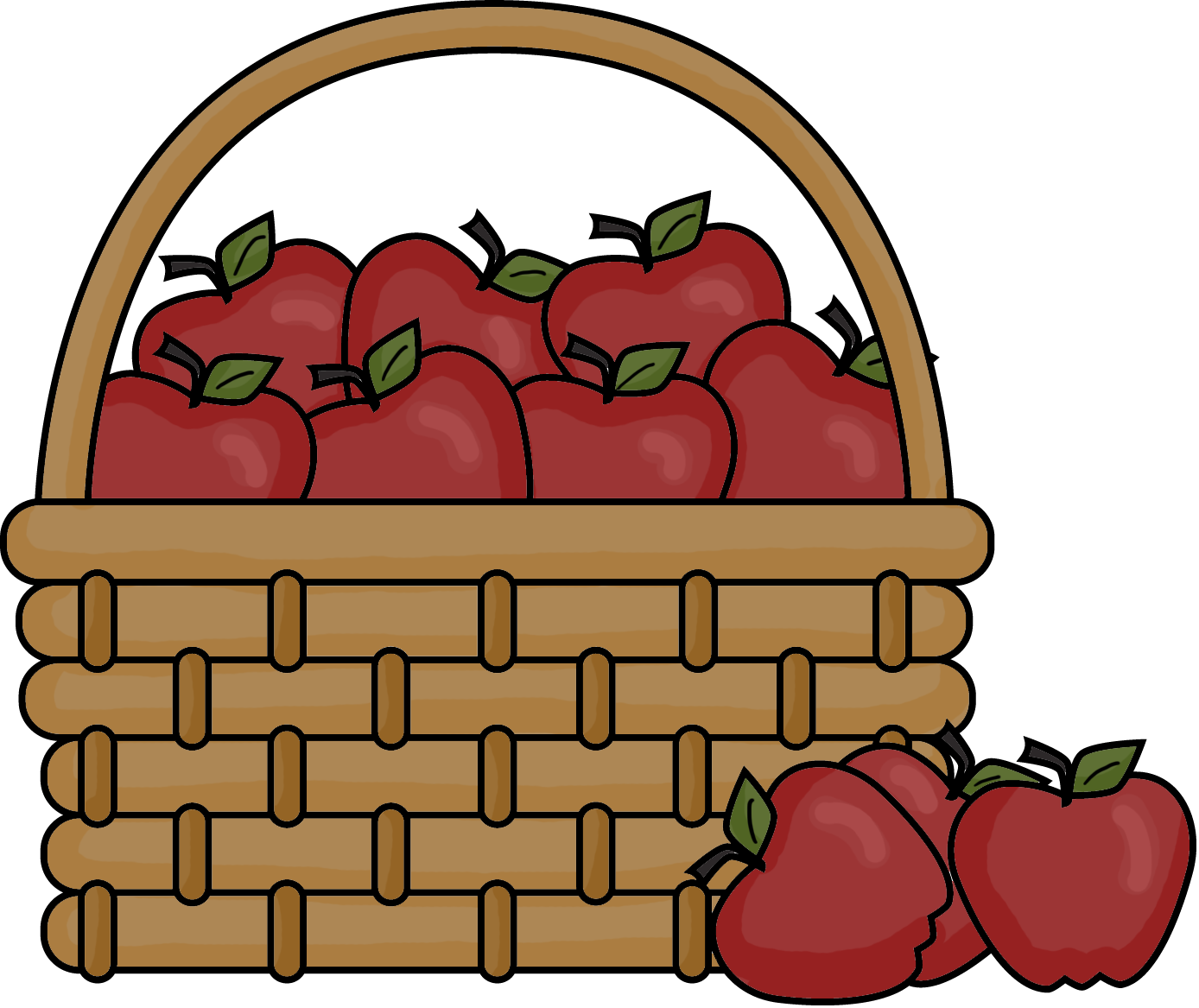 clip library Apple . Basket of apples clipart