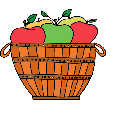 jpg black and white library Apple Basket Clipart