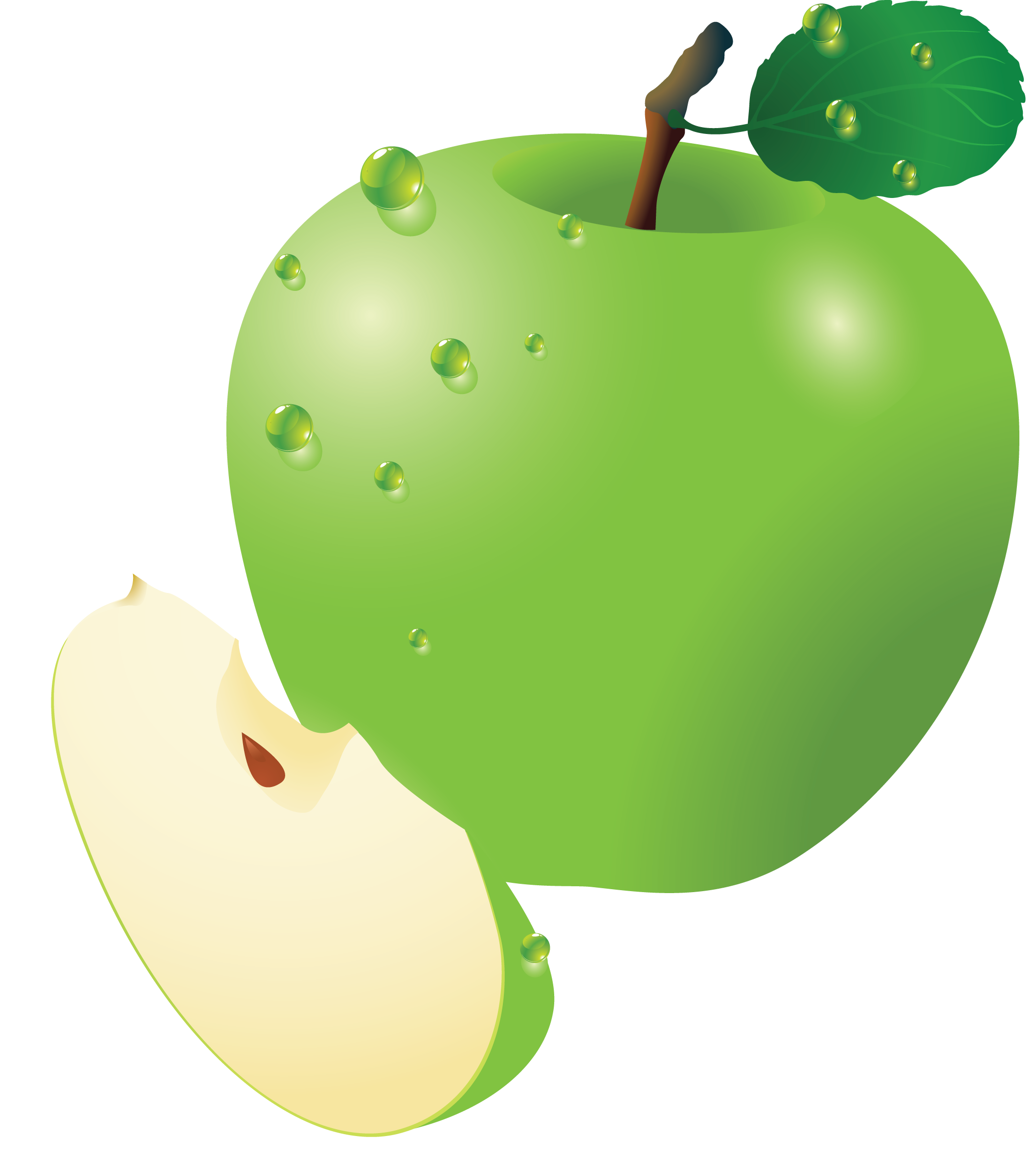 svg free library Green apple ten isolated. Vector apples healthy