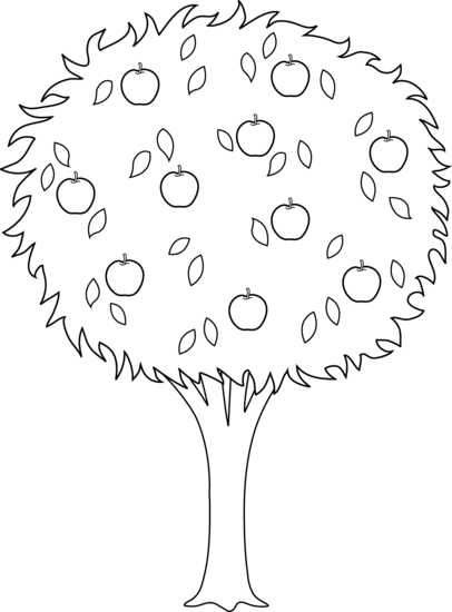 clipart freeuse stock  collection of apple. Trees black and white clipart