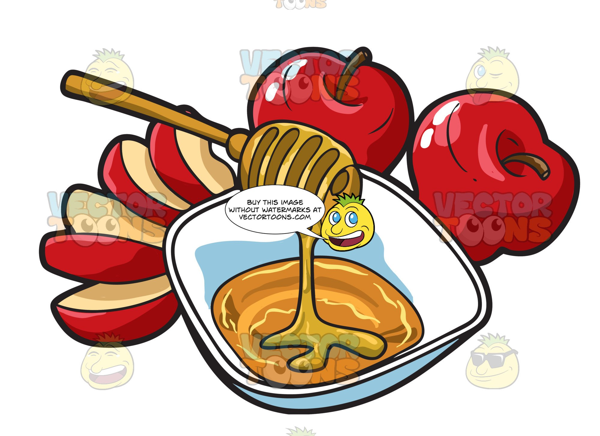 svg royalty free . Apples and honey clipart.