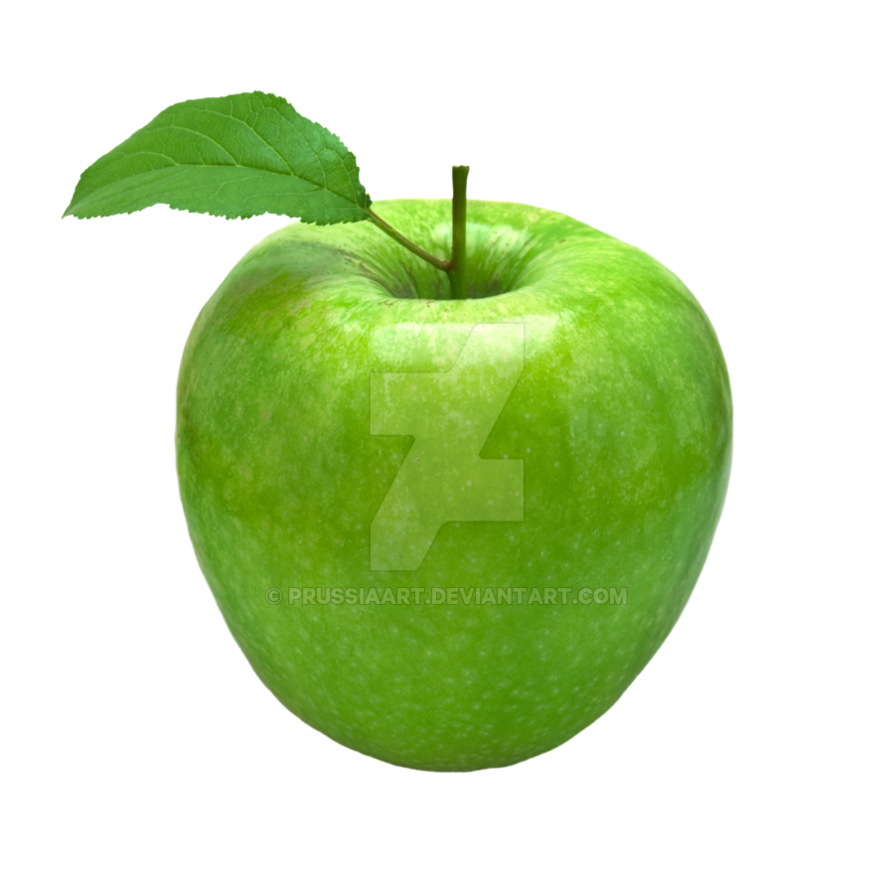 jpg freeuse library Green apple with a leaf on a transparent backgroun by PRUSSIAART on