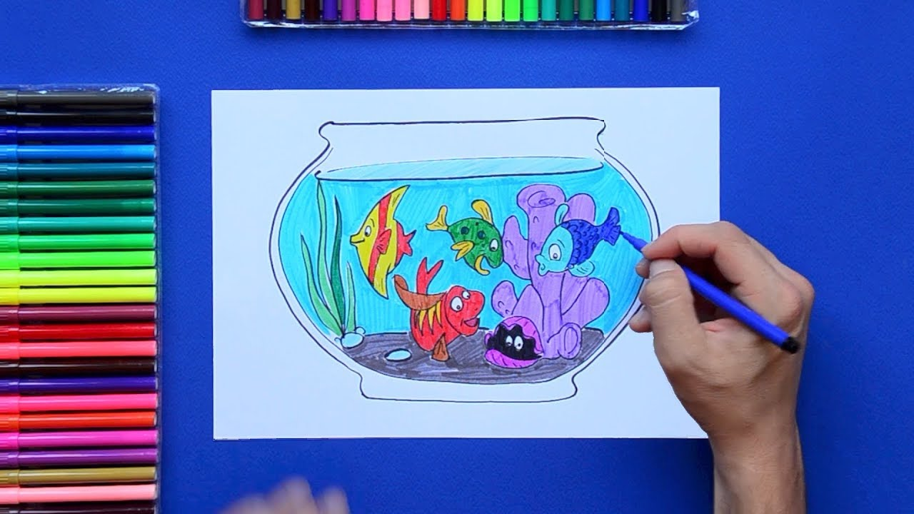royalty free How to draw a beautiful Aquarium with Fish