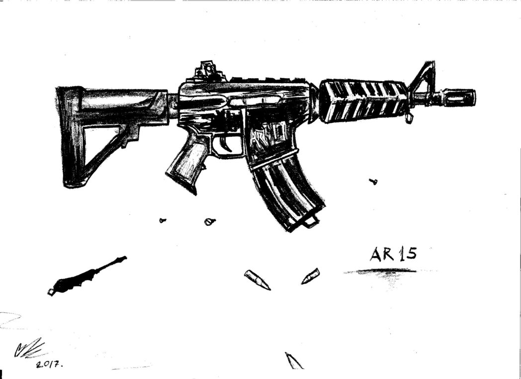 png freeuse library Ar15 drawing.  ar sniper for