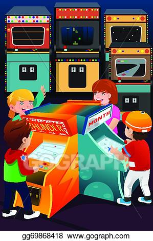 graphic free Eps illustration kids playing. Arcade clipart game