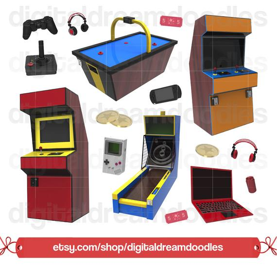 clip art black and white library Arcade clipart game. Video clip art image