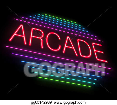 banner black and white library Stock illustration illustrations . Arcade clipart neon sign.