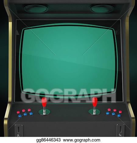 png black and white download Arcade clipart screen. Vintage game machine cabinet