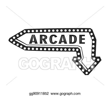 banner library download Vector illustration light arrow. Arcade clipart sign