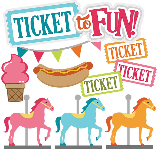 vector free library Ticket to fun carnival. Funny svg park.
