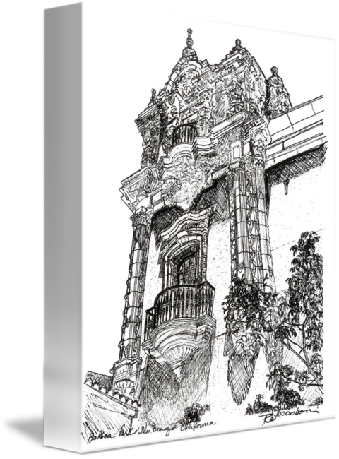 svg freeuse library Balboa Park Architecture drawing by Riccoboni by RD Riccoboni