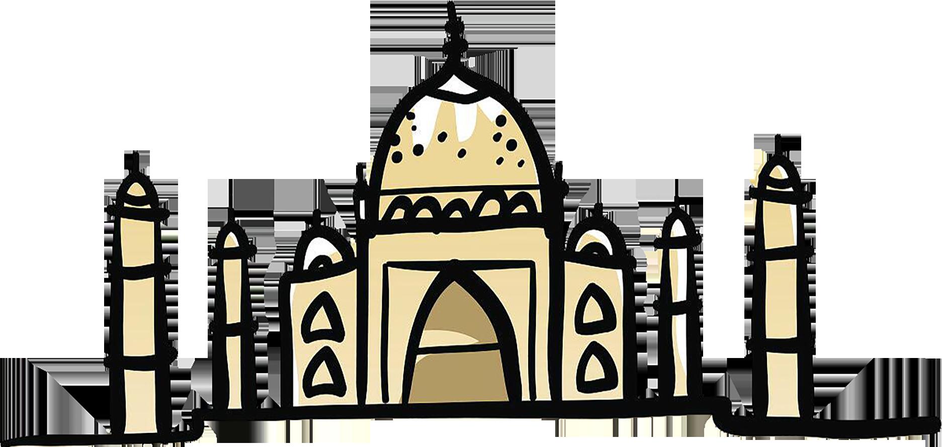 banner freeuse stock Taj mahal grave illustration. Mosque drawing cartoon