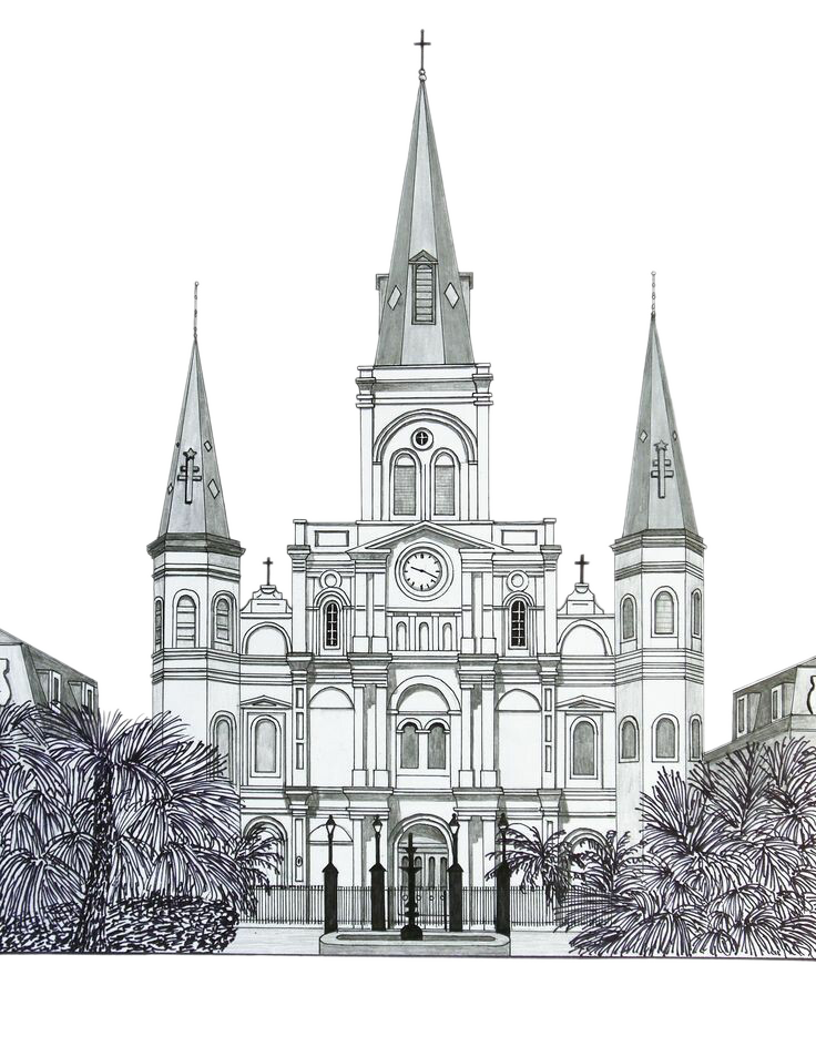 clip art black and white library Drawing Building Church Watercolor painting Sketch