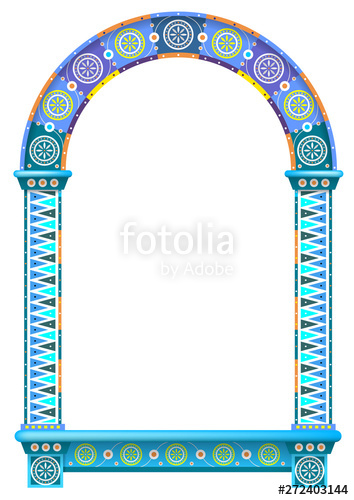 graphic free download Vector door arch. Colored ornamental window frame