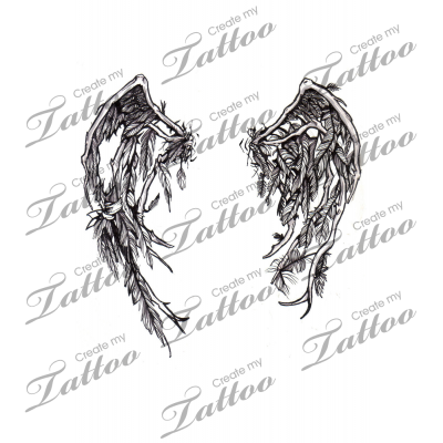 vector freeuse download Fallen Angel Wings tattoo